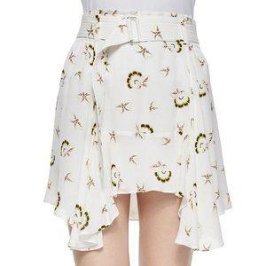 A.L.C. Daro 100% Silk Floral Print Ruffle Skirt
